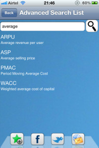 businesss and finance abbreviations for iphone